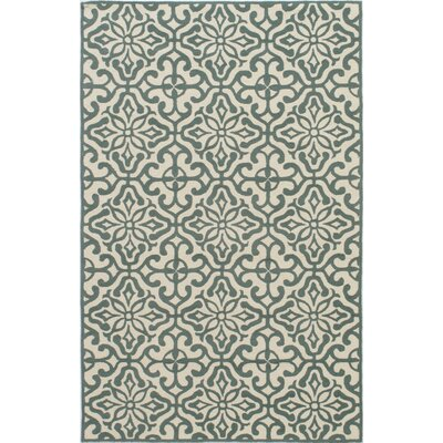 Peyton Hand-Hooked Blue/Beige Outdoor Area Rug Rug Size: Rectangle 5 x 8