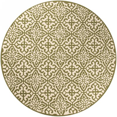 Peyton Hand-Hooked Green Outdoor Area Rug Rug Size: Round 9 x 9