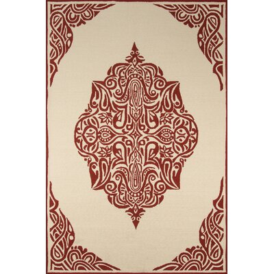 Bromville Red/Ivory Outdoor Area Rug Rug Size: Rectangle 5 x 8