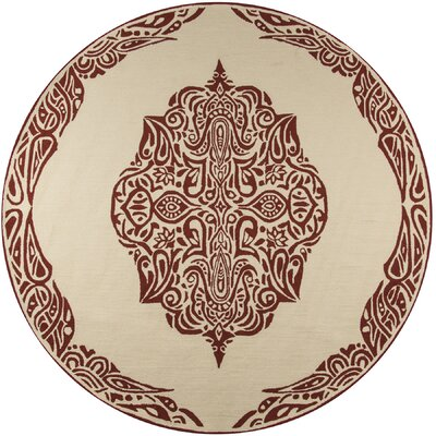 Bromville Red/Ivory Outdoor Area Rug Rug Size: Round 9 x 9