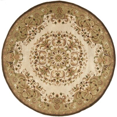 Taylor Beige/Green Area Rug Rug Size: Round 8