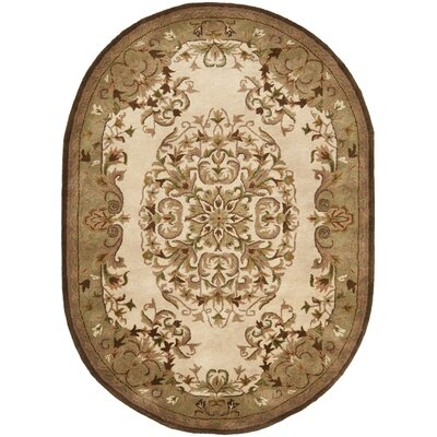 Taylor Beige/Green Area Rug Rug Size: Oval 46 x 66