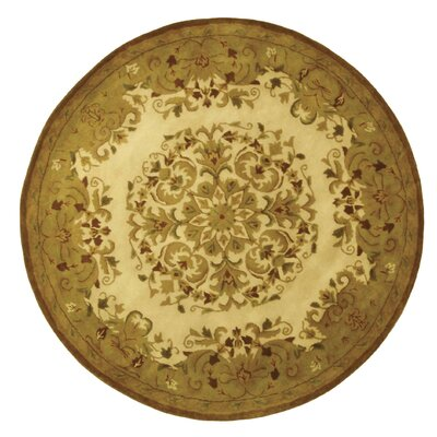 Taylor Beige/Green Area Rug Rug Size: Round 3'6