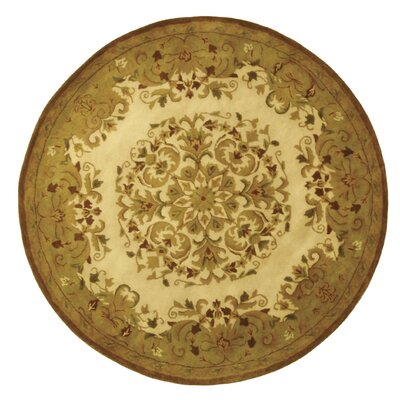 Taylor Beige/Green Area Rug Rug Size: Round 6