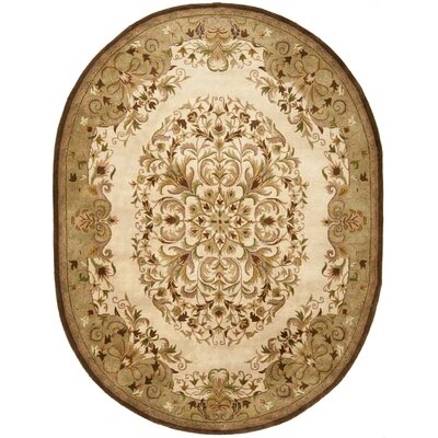 Taylor Beige/Green Area Rug Rug Size: Oval 76 x 96