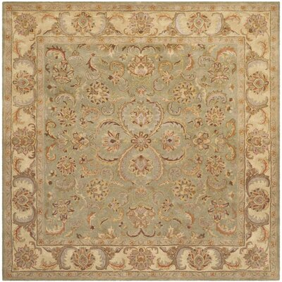 Taylor Hand-Tufted Wool Green/Beige Area Rug Rug Size: Square 8