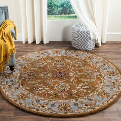 Taylor Brown & Blue Area Rug Rug Size: Round 6
