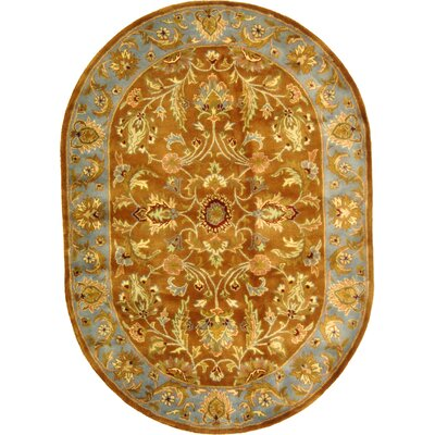 Taylor Brown & Blue Tufted Wool Area Rug Rug Size: Oval 46 x 66