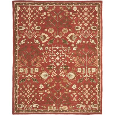 Theydon Red/Green Rug Rug Size: 2' x 3'
