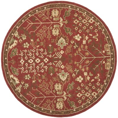 Taylor Red/Green Rug Rug Size: Round 6