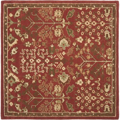 Taylor Red/Green Rug Rug Size: Square 6