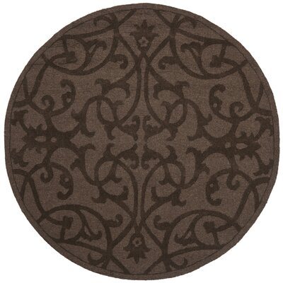 Babille Dark Brown Area Rug Rug Size: Round 5