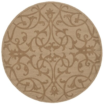 Palmwood Modern Light Brown Area Rug Rug Size: Round 5