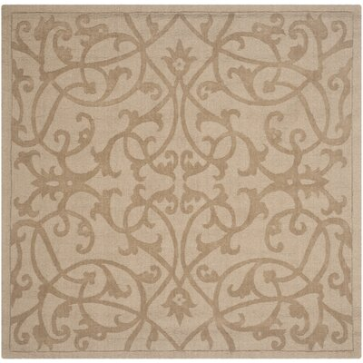 Palmwood Modern Light Brown Area Rug Rug Size: Square 6