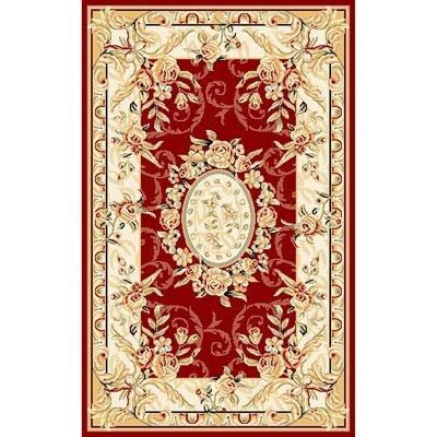 Taufner Red/Ivory Area Rug Rug Size: Rectangle 4 x 6