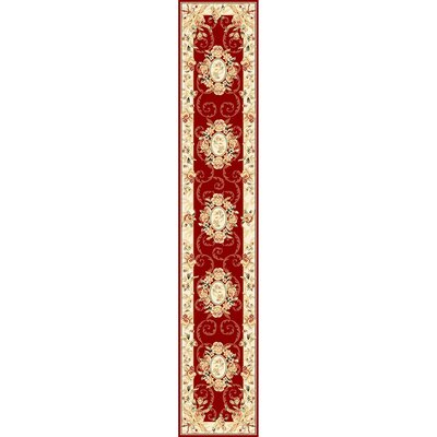 Taufner Red/Ivory Area Rug Rug Size: Runner 23 x 12
