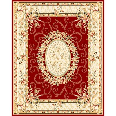 Taufner Red/Ivory Area Rug Rug Size: 79 x 109