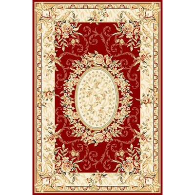 Taufner Red/Ivory Area Rug Rug Size: 53 x 76