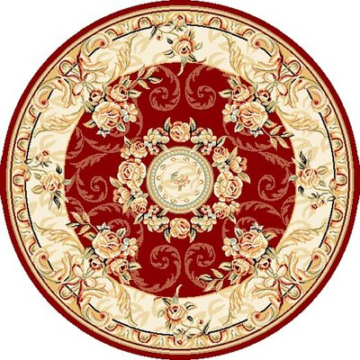 Taufner Red/Ivory Area Rug Rug Size: Round 5