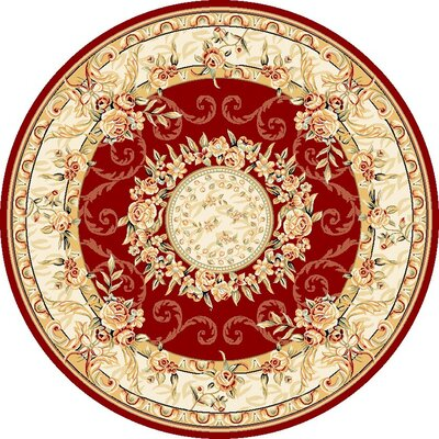 Taufner Red/Ivory Area Rug Rug Size: Round 8