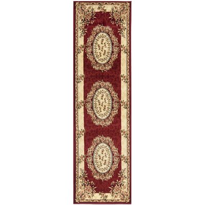 Taufner Red/Ivory Area Rug Rug Size: Runner 23 x 8