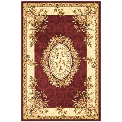 Taufner Red/Ivory Area Rug Rug Size: 4 x 6