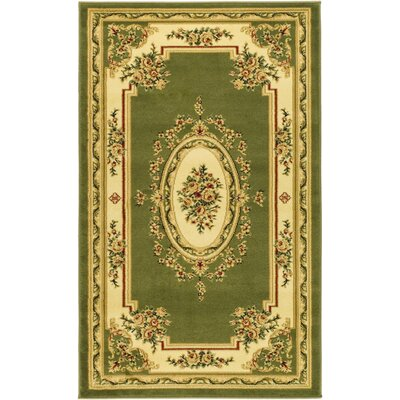Taufner Sage/Ivory Aubusson Area Rug Rug Size: Rectangle 33 x 53