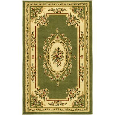 Taufner Sage/Ivory Aubusson Area Rug Rug Size: 3'3