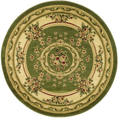 Taufner Sage/Ivory Aubusson Area Rug Rug Size: Round 53