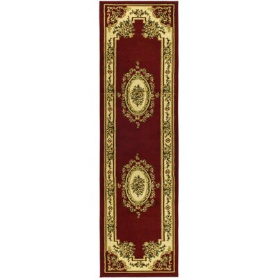 Taufner Aubusson Red/Ivory Area Rug Rug Size: Runner 23 x 12