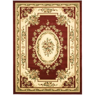 Taufner Red/Ivory Aubusson Area Rug Rug Size: 79 x 109