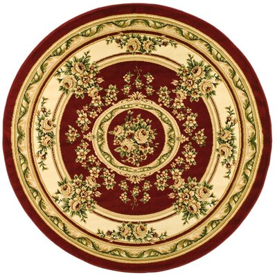 Taufner Red/Ivory Aubusson Area Rug Rug Size: Round 5'3