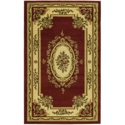 Taufner Red/Ivory Aubusson Area Rug Rug Size: 53 x 76