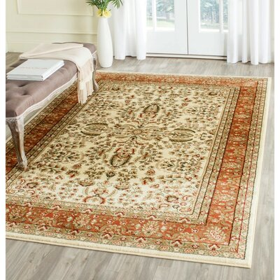 Taufner Brown/Orange Area Rug Rug Size: Round 8