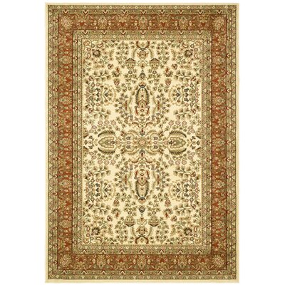 Taufner Ivory/Rust Area Rug Rug Size: 4 x 6