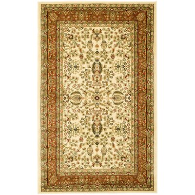 Taufner Ivory/Rust Area Rug Rug Size: 33 x 53