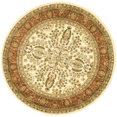 Taufner Brown/Orange Area Rug Rug Size: Round 53