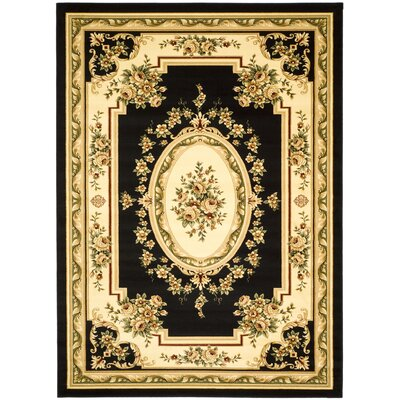 Taufner Black/Ivory Area Rug Rug Size: Rectangle 53 x 76