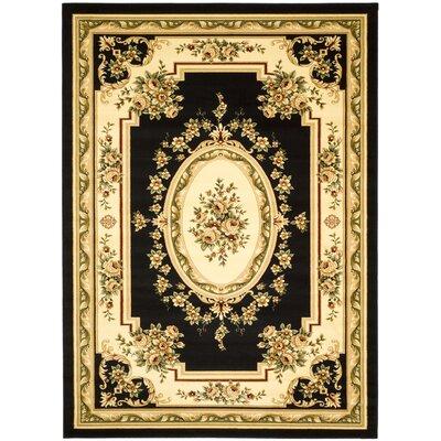 Taufner Black/Ivory Area Rug Rug Size: 33 x 53