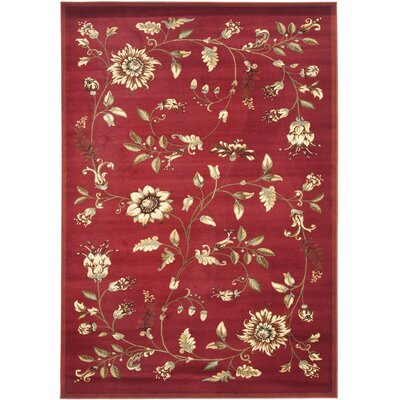 Taufner Red Area Rug Rug Size: 67 x 96
