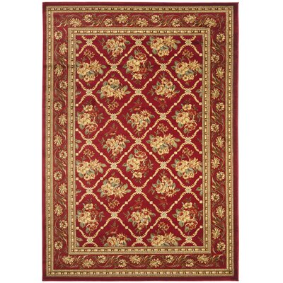 Taufner Red Area Rug Rug Size: 53 x 76
