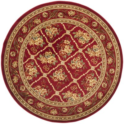 Taufner Red Area Rug Rug Size: Round 53