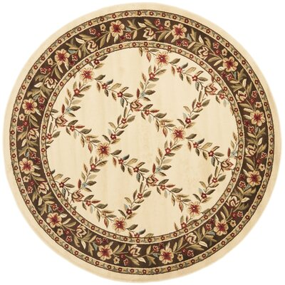 Taufner Ivory/Brown Checked Area Rug Rug Size: Round 53