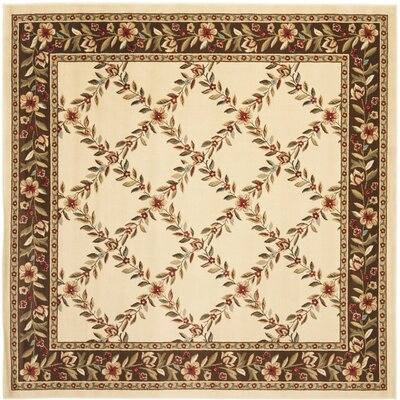 Taufner Ivory/Brown Checked Area Rug Rug Size: Square 67