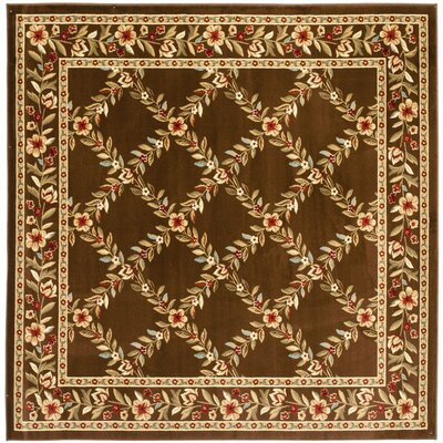 Taufner Brown Checked Area Rug Rug Size: Square 67