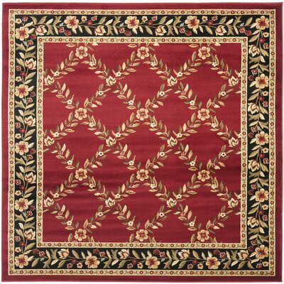 Taufner Red/Black Area Rug Rug Size: Square 6'7
