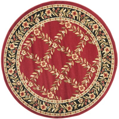 Taufner Red/Black Area Rug Rug Size: Round 53