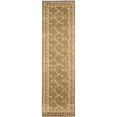 Taufner Green Checked Area Rug Rug Size: Runner 23 x 8
