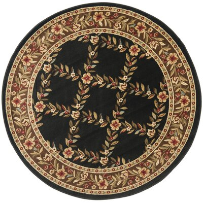 Taufner Black/Brown Area Rug Rug Size: Round 53