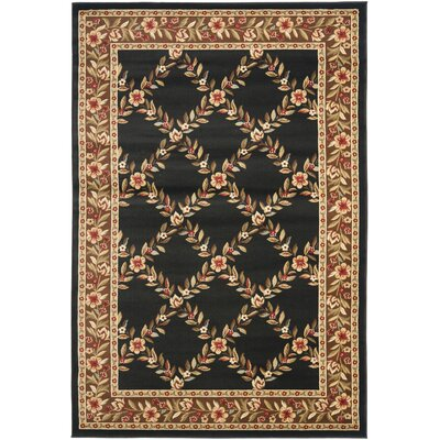 Taufner Black/Brown Area Rug Rug Size: 53 x 76